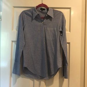 Theory Blue and White Striped Button Down